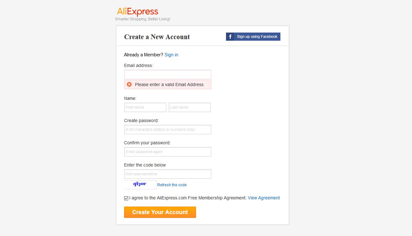 aliexpress sign up